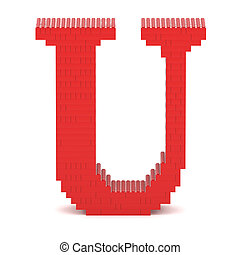 Letter U built from toy bricks - Letter U built from red toy...
