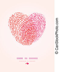 Fingerprint heart romantic background - Vector fingerprint...
