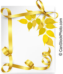 Autumn background with yellow leaves and gold ribbons Back...