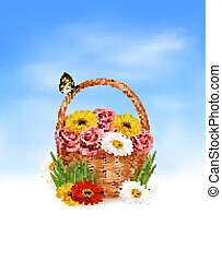 Holiday background. Basket full of flowers with a butterfly. Vector.
