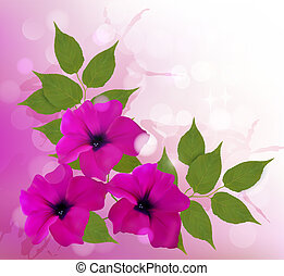 Nature background with pink beautiful flowers. Vector illustration.