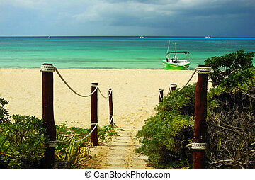 Beach Pathway - a stone pathway leading to a caribbean beach...