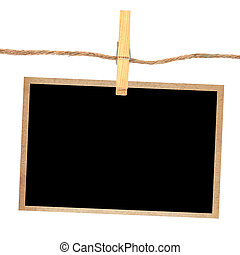 old photo and clothes peg  isolated white background