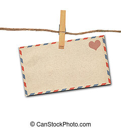 old envelope - the old envelope and clothes peg white...