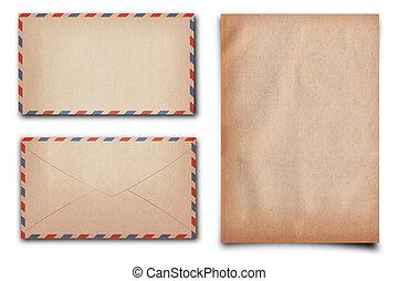vintage paper - vintage letter paper and enlelope on white...