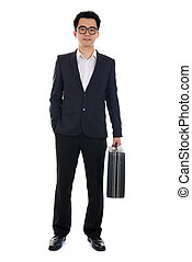 asian young business man with suitcase isolated on white...