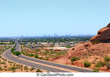 Road to Phoenix Downtown, AZ - McDowell Road to downtown of...