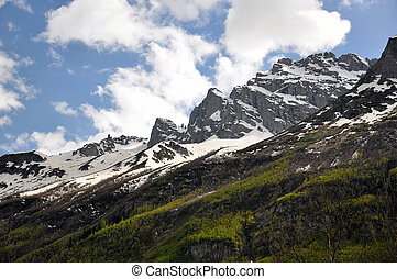 Dombay - mountains, snow, forest, dombay, clouds, sky, rocks