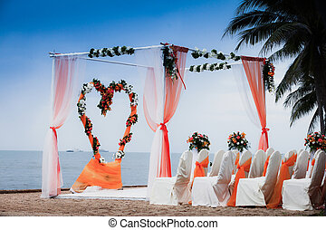 Beach Wedding Ceremony orange color theme