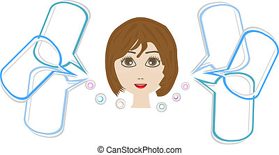 Cute happy woman face with speech bubble