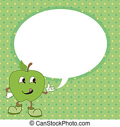 green apple with speech bubble vect