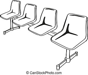 link chairs outline vector - public link chair on green...