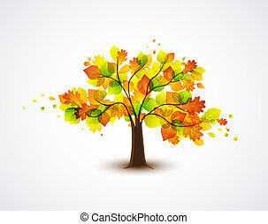 autumnal tree - natural autumn tree with colorful leaves