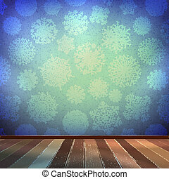 Christmas room and blue wall. EPS 10 vector
