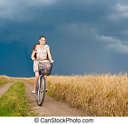 woman on a bicycle