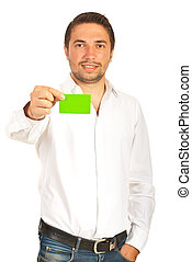 Business man give green card - Business man giving green...