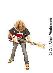 Guitarra, tocando, baixo, adolescente