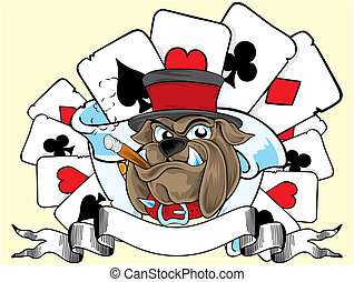 playing card and bulldog