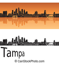 Tampa skyline in orange background in editable vector file