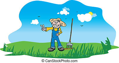 happy farmer - vector cartoon of a happy farmer standing