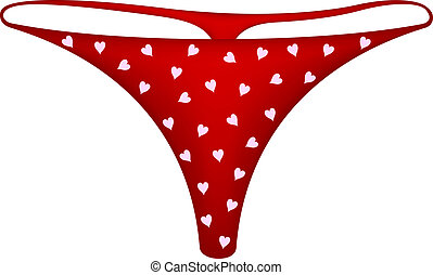 Womens panties in red design with hearts symbols on white...