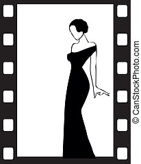 the Vector vintage retro woman silhouette background - the...