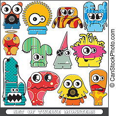 Set of twelve monsters - cartoon set