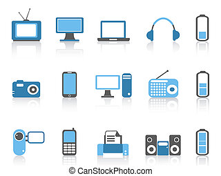 simple electronic icons,blue color series - isolated simple...