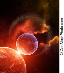 Planet with Rising Star and nebula on background