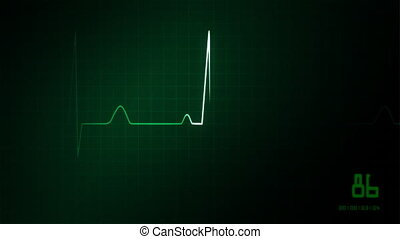 heart on an EKG monitor green - The graphic of EKG monitor