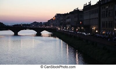 "Alle Grazie bridge in Florence - Night view of ""Alle Grazie""..."