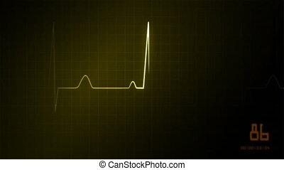 heart on an EKG monitor yellow - The graphic of EKG monitor