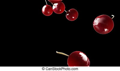 cherry falling down black