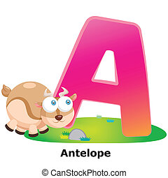 animal alphabet A - illustration of isolated animal alphabet...