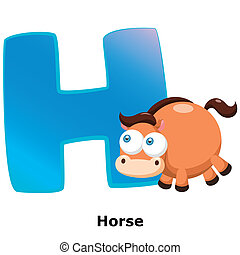 animal alphabet H - illustration of isolated animal alphabet...