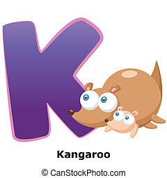 animal alphabet K - illustration of isolated animal alphabet...