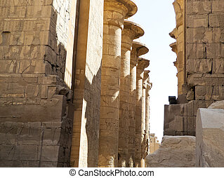 Ancient Ruins - Ancient ruins of Karnak temple at Luxor in...