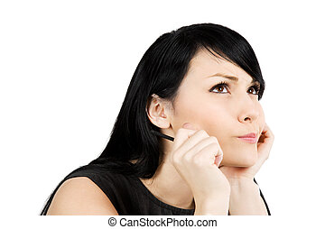 Thinking businesswoman - An isolated shot of a thinking...