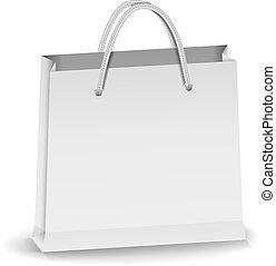Gray paper shopping bag, vector eps10 illustration