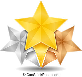 Golden, silver and bronze stars