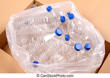 Bottles of water for recycling