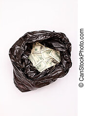 Rubbish bag with dollars, isolated