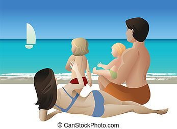 family tour - vector illustration of family with two kids...