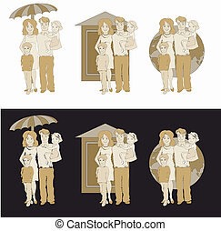 family protection logos - set of 3 vector illustration of...
