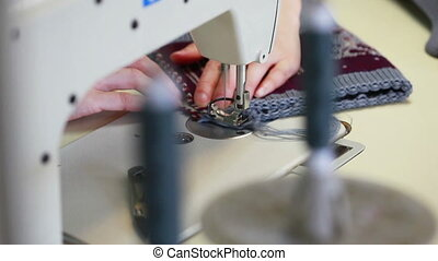 View of working sewing machine, close-up - View of working...