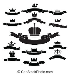 king and queen crown silhouette icon set isolated on white...
