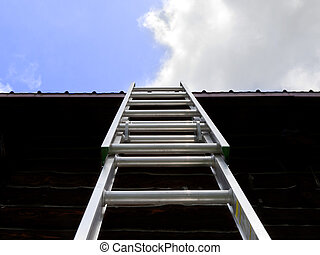 Ladder to the Sky - A silver ladder leans against a roof...