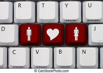 Internet Dating - Computer keyboard keys with symbols of man...