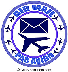 Air mail - Stamp with text air mail, par avian inside,...