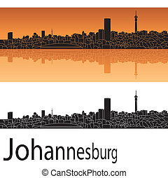 Johannesburg skyline in orange background